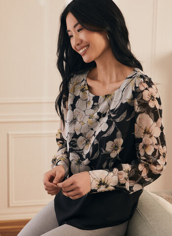 Floral Print Long Sleeve Blouse, Black,  top, blouse, floral, cuffs, long sleeves, button details, scoop neck, spring summer 2021
