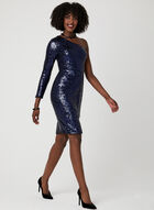 One Shoulder Sequin Dress, Blue, hi-res