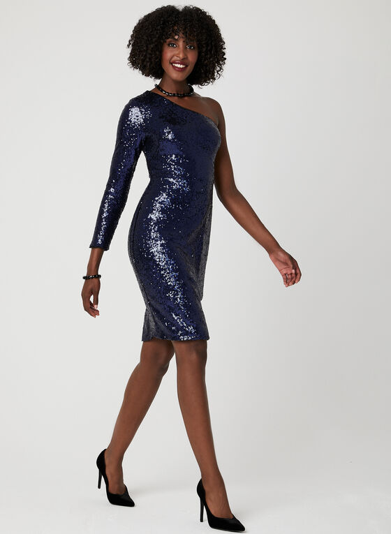 One Shoulder Sequin Dress, Blue, hi-res