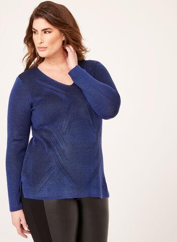 Pull tunique en tricot effet rayé et torsadé, Bleu, hi-res