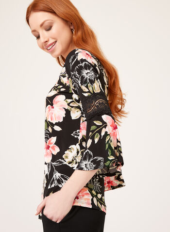 Angel Sleeve Floral Print Blouse, Black, hi-res