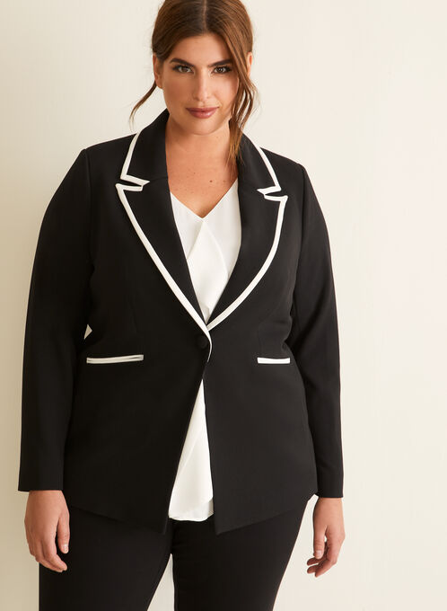 Veste à col cranté et détails contrastants, Noir