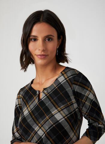 Keyhole Neck Plaid Top, Black,  plaid sweater, plaid blouse