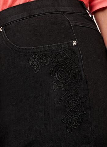 Simon Chang – Floral Embroidered Signature Fit Jeans, Black, hi-res