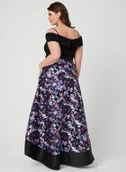 Robe à épaules dénudées et jupe fleurie, Noir, hi-res