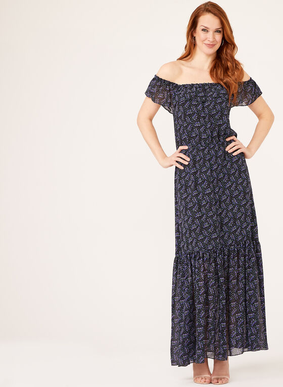 Ruffle Neck Maxi Dress, Black, hi-res