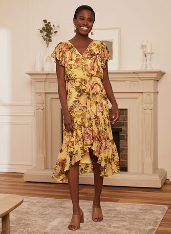 Floral Print Ruffle Dress, Yellow,  spring summer 2021, dress, day dress, ruffle, floral print, chiffon, cap sleeve, short sleeve, v neck, button front, high low, asymmetric