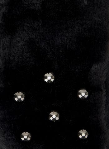 Pearl Embellished Faux Fur Scarf, Black, hi-res