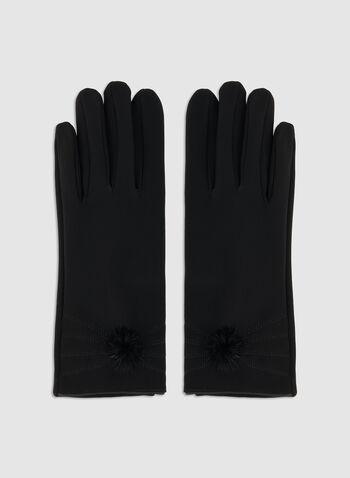 Gants à pompon de fausse fourrure, Noir, hi-res,  automne hiver 2019, gants, pompon, fausse fourrure, surpiqûres
