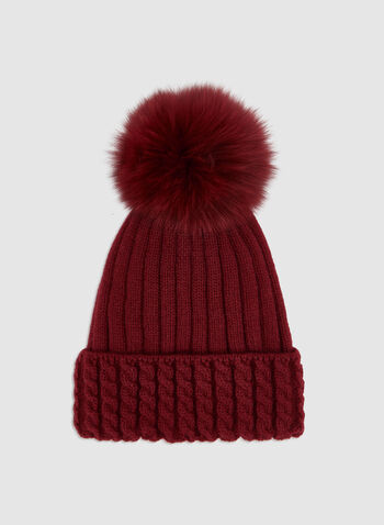 Fur Pompom Knit Tuque , Red, hi-res,