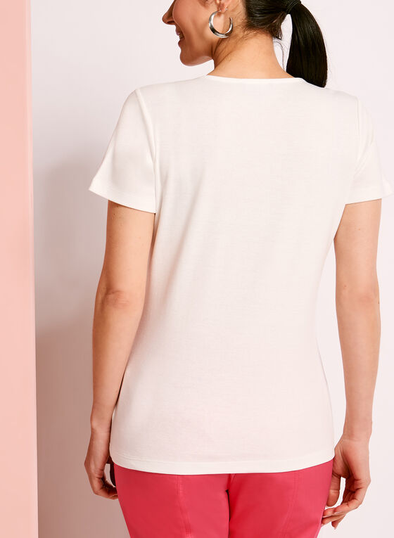 Scoop Neck Lace-Up T-Shirt, Off White, hi-res