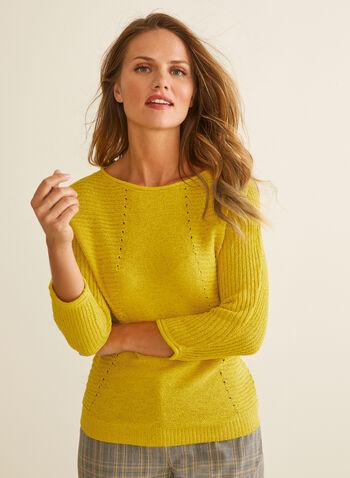 Pull en tricot à manches dolman, Jaune,  pull, tricot, manches 3/4, dolman, col bateau, printemps été 2020