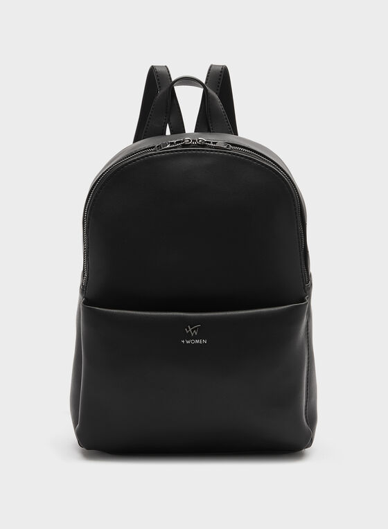 Faux Leather Backpack, Black