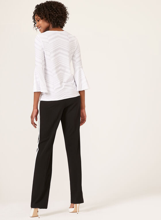 Jacquard Bell Sleeve Blouse, Off White, hi-res
