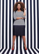 3/4 Sleeve Stripe Print Top, Blue, hi-res