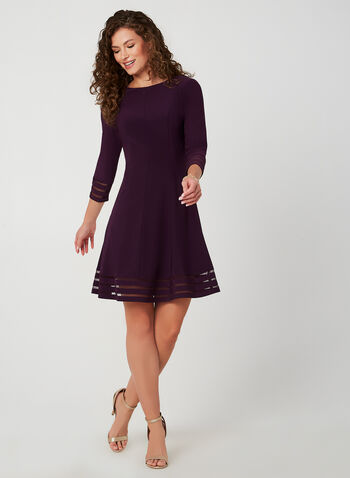Fit & Flare Jersey Dress, Purple, hi-res,  cocktail dress, fit and flare, mesh, jersey, 3/4 sleeves, long sleeves, fall 2019, winter 2019