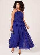 Robe en mousseline et corsage floral texturé, Bleu, hi-res