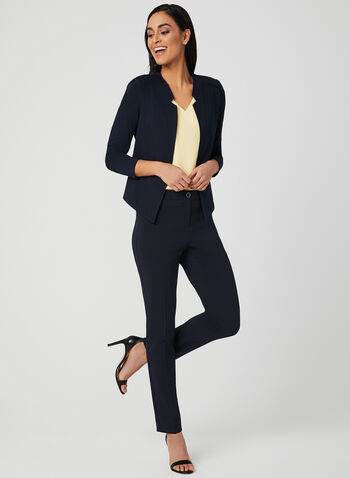 Long Sleeve Open Front Jacket, Blue, hi-res,