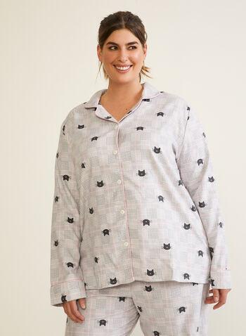 Cat Print Flannel Pyjama Set, Grey,  fall winter 2020, pyjama set