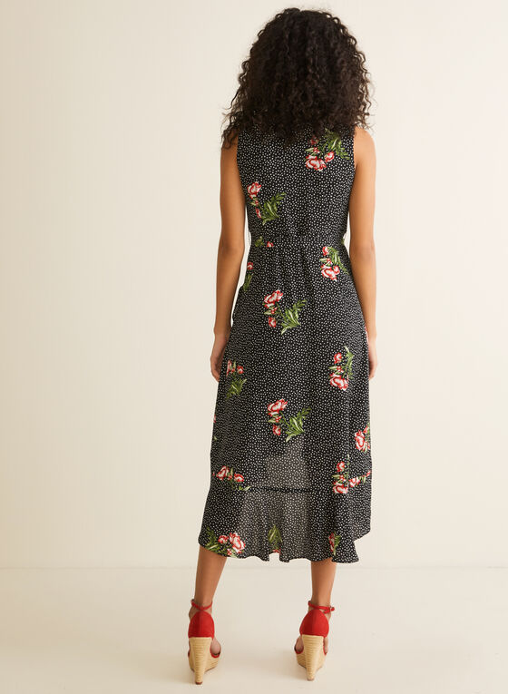 Polka Dot Floral Print Dress, Black