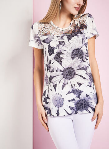 Crystal Embellished Daisy Print T-Shirt, Grey, hi-res