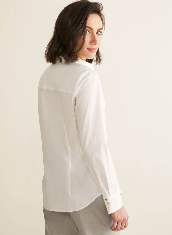 Long Sleeve Cotton Blouse , White