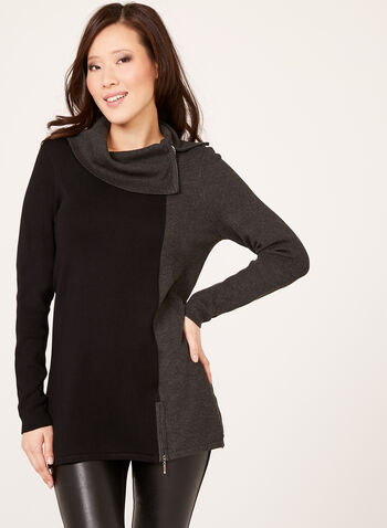 Cowl Neck Two Tone Knit Sweater, Grey, hi-res