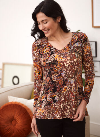 Paisley Print V-Neck Tunic, Black,  fall 2021, top, blouse, tunic, shirt, made in canada, v neckline, long sleeves, flared hem, fit, flare, paisley, print, comfy, light, flowy, autumn
