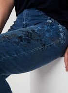 Simon Chang - Embroidered Denim Capri Pants, Blue, hi-res