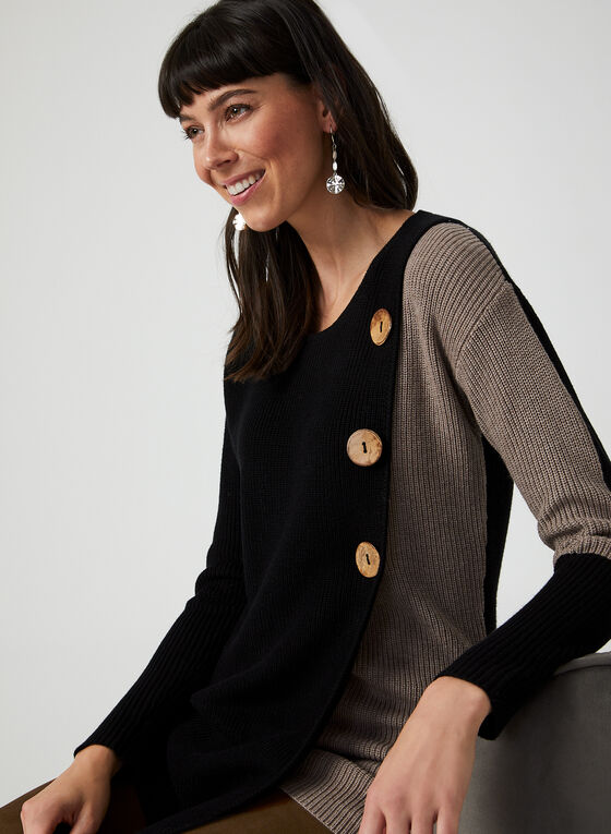 Button Detail Sweater, Black