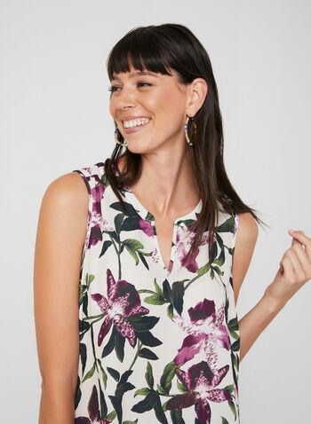 Floral Print Sleeveless Blouse, White,  blouse, sleeveless, floral, split V-neck, crepe, high-low hemline, fall 2019, winter 2019