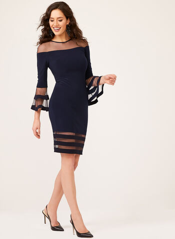 Flounce Sleeve Jersey Mesh Illusion Yoke Dress, Blue, hi-res