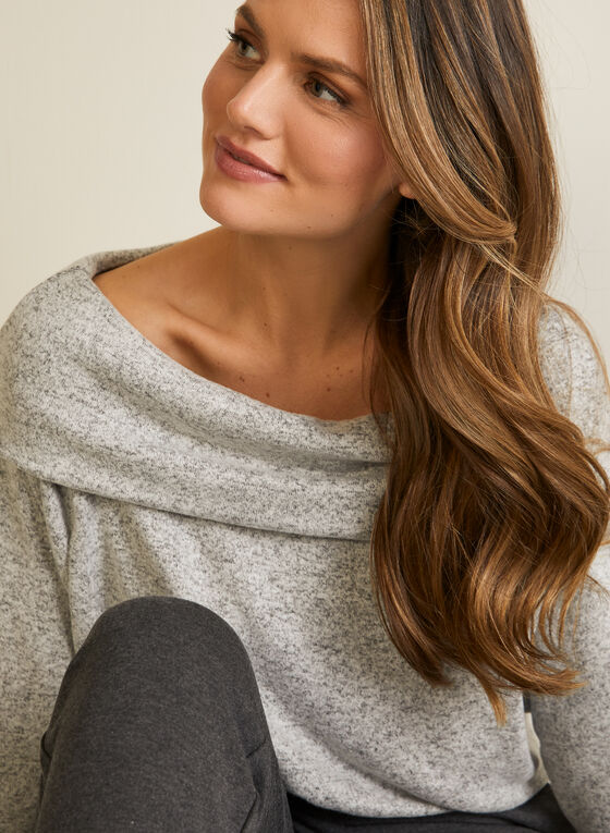 Marilyn Neckline Knit Top, Grey