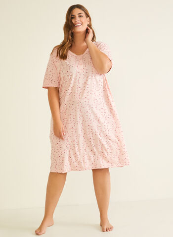 Floral Print Nightshirt, Pink,  pyjamas, nightshirt, floral, buttons, elbow sleeves, pocket, bow, fall winter 2020