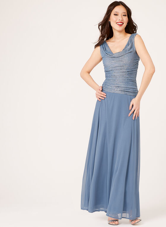Glitter Chiffon Cowl Neck Gown, Grey, hi-res