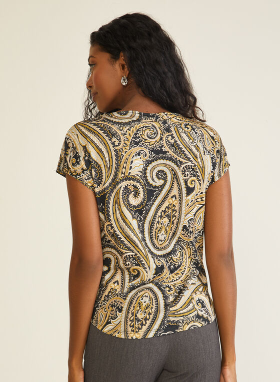Paisley Print Short Sleeve Top, Black