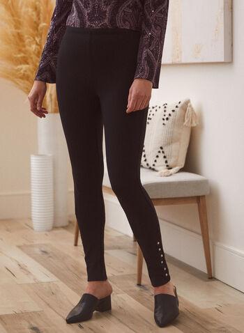 Stud Detail Leggings, Black,  legging, studs, ponte di roma, ankle length, pull-on, slim leg, fall winter 2020