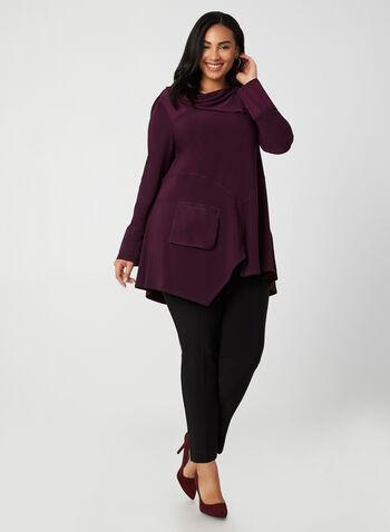 Joseph Ribkoff - Asymmetrical Tunic, Purple,  canada, long sleeves, tunic, top, asymmetrical top, zippers, comfortable, cowl neck, fall 2019, winter 2019