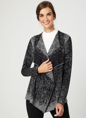 Abstract Print Knit Cardigan, Black, hi-res