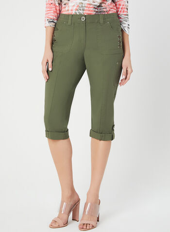 Modern Fit Capri Pants, Green,  capri pants, cargo, Modern Fit, straight leg, spring 2019
