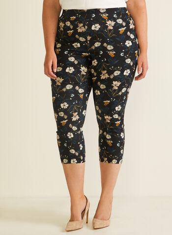 Joseph Ribkoff - Floral Print Pull-On Capris, Black,  capris, pull-on, slim leg, floral print, bengaline, spring summer 2020
