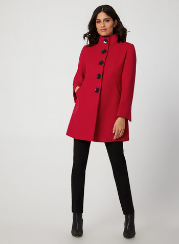 Wool-Like A-Line Coat, Red,  fall winter 2019, wool, large buttons, pockets, Slit cuffs