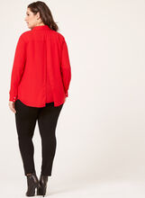 Capelet Back Button Down Blouse, Red, hi-res