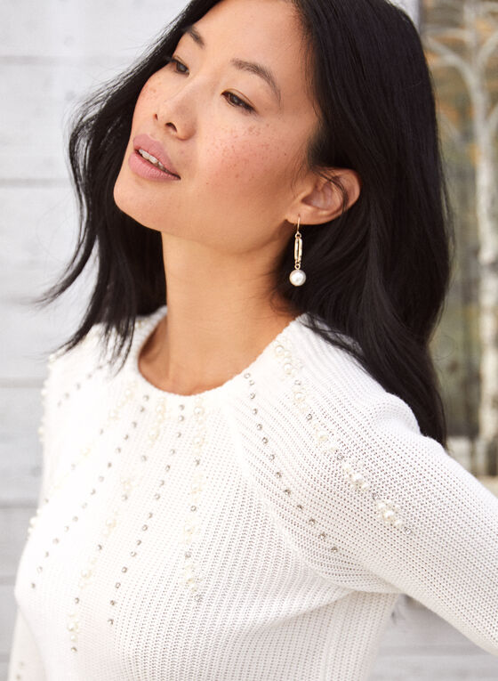 Sweater With Pearls And Rhinestones, White