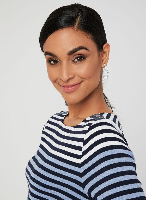 Stripe Print Elbow Sleeve Top, Blue, hi-res