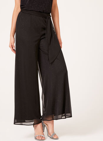 Pull-On Wide Leg Pants, Gold, hi-res