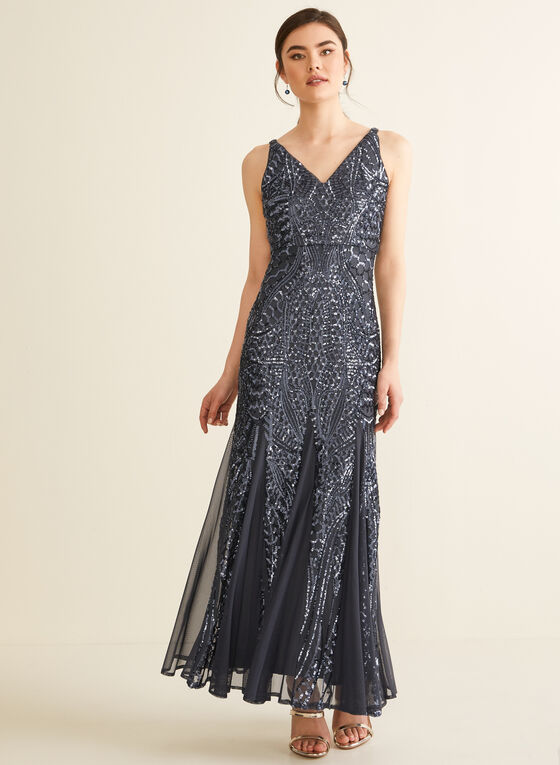Robe en maille filet et sequins, Gris