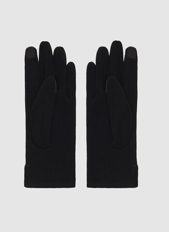 Faux Leather Trim Touchscreen Gloves, Black, hi-res