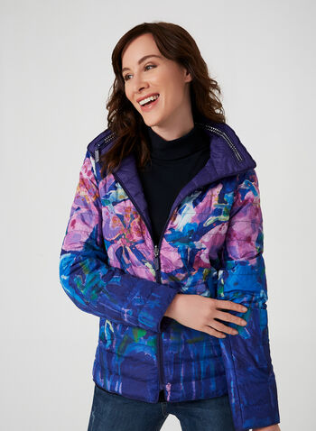 Carré Noir - Reversible Quilted Coat, Purple, hi-res,  fall winter 2019, quilted coat, long sleeves