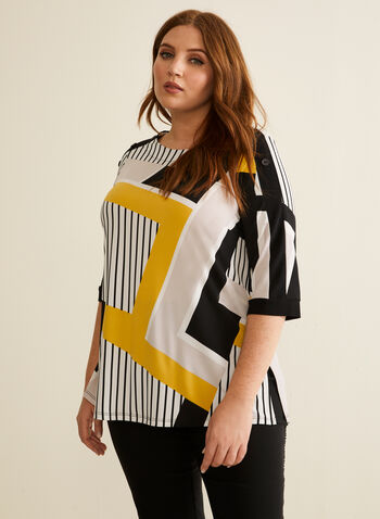 Geometric Print Jersey Top, Yellow,  top, geometric, jersey, 3/4 sleeves, button details, boat neck, spring summer 2020